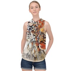 Collage Art The Statue Of Shell High Neck Satin Top by Pakrebo