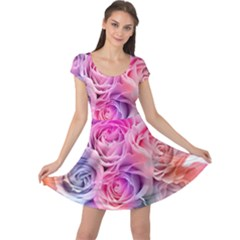Rose Bouquet Flower Petal Floral Cap Sleeve Dress