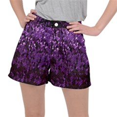 Sequins  White Purple Ripstop Shorts
