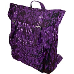 Sequins  White Purple Buckle Up Backpack