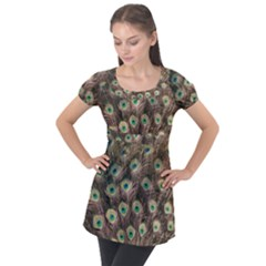 Bird Peacock Tail Feathers Puff Sleeve Tunic Top