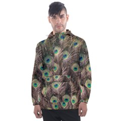 Bird Peacock Tail Feathers Men s Front Pocket Pullover Windbreaker