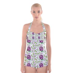 Default Texture Background Floral Boyleg Halter Swimsuit  by Pakrebo