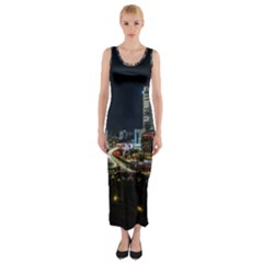 Night City Seoul Travel Korea Sky Fitted Maxi Dress