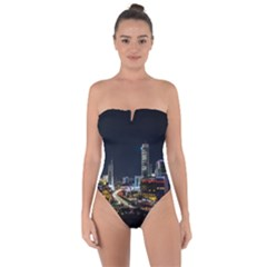 Night City Seoul Travel Korea Sky Tie Back One Piece Swimsuit