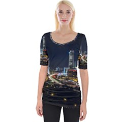 Night City Seoul Travel Korea Sky Wide Neckline Tee