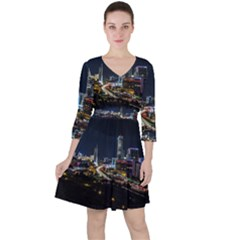 Night City Seoul Travel Korea Sky Ruffle Dress