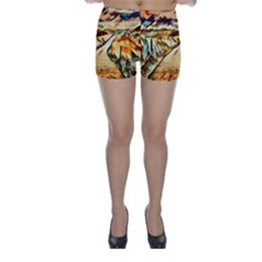 Painting Expressive Colors Texture Skinny Shorts