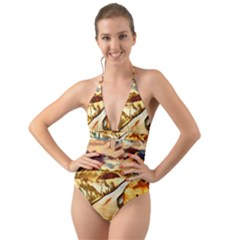 Painting Expressive Colors Texture Halter Cut Out One Piece Swimsuit by Pakrebo