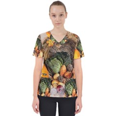 Pumpkin Vegetables Autumn Women s V-neck Scrub Top