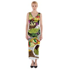 Eat Food Background Art Color Fitted Maxi Dress