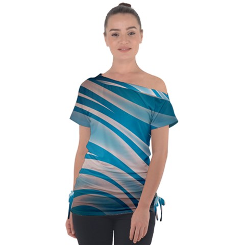 Background Abstract Blue Wavy Tie-up Tee by Pakrebo