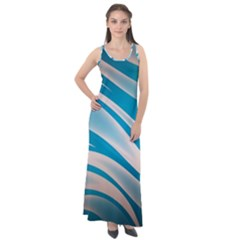 Background Abstract Blue Wavy Sleeveless Velour Maxi Dress