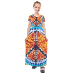 Tie Dye Peace Sign Kids  Short Sleeve Maxi Dress by Pakrebo
