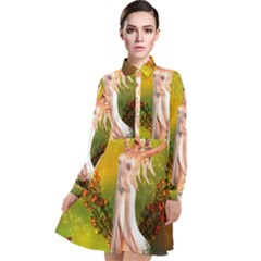 Beautiful Fairy With Wonderful Flowers Long Sleeve Chiffon Shirt Dress