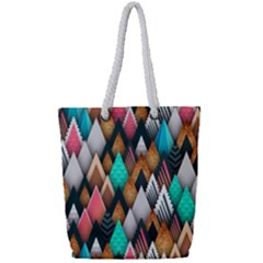 Abstract Triangle Tree Full Print Rope Handle Tote (small)