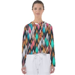 Abstract Triangle Tree Women s Slouchy Sweat