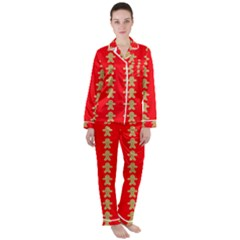 Gingerbread Cookie Christmas Satin Long Sleeve Pyjamas Set