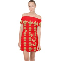Gingerbread Cookie Christmas Off Shoulder Chiffon Dress