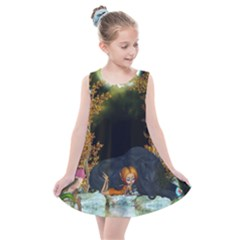 Cute Fairy With Awesome Wolf In The Night Kids  Summer Dress by FantasyWorld7
