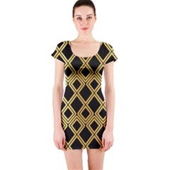 Arabic Pattern Gold And Black Short Sleeve Bodycon Dress