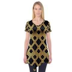 Arabic Pattern Gold And Black Short Sleeve Tunic