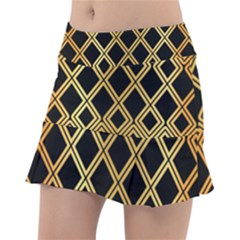 Arabic Pattern Gold And Black Tennis Skirt