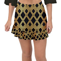 Arabic Pattern Gold And Black Fishtail Mini Chiffon Skirt
