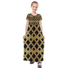 Arabic Pattern Gold And Black Kids  Short Sleeve Maxi Dress by Nexatart
