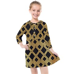 Arabic Pattern Gold And Black Kids  Quarter Sleeve Shirt Dress