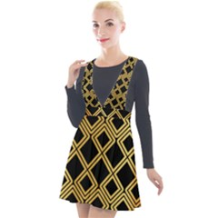 Arabic Pattern Gold And Black Plunge Pinafore Velour Dress