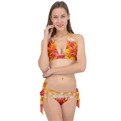 Autumn Background Maple Leaves Bokeh Tie It Up Bikini Set