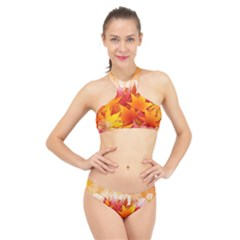 Autumn Background Maple Leaves Bokeh High Neck Bikini Set