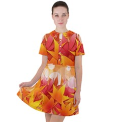 Autumn Background Maple Leaves Bokeh Short Sleeve Shoulder Cut Out Dress