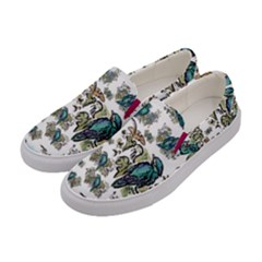 Blue Birds Of Happiness   White   By Larenard Studios Women s Canvas Slip Ons by LaRenard