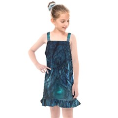 Trees Road Moonlight Avenue Kids  Overall Dress by Nexatart