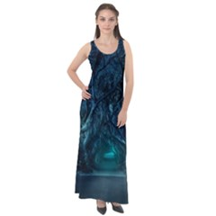 Trees Road Moonlight Avenue Sleeveless Velour Maxi Dress