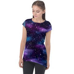 Background Space Planet Explosion Cap Sleeve High Low Top