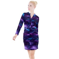 Background Space Planet Explosion Button Long Sleeve Dress by Nexatart