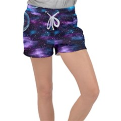 Background Space Planet Explosion Women s Velour Lounge Shorts