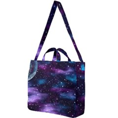 Background Space Planet Explosion Square Shoulder Tote Bag