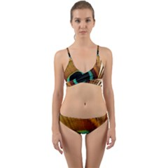 Feather Peacock Feather Peacock Wrap Around Bikini Set by Nexatart