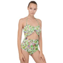 Background Christmas Star Advent Scallop Top Cut Out Swimsuit