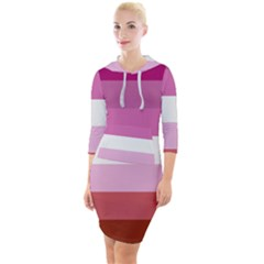 Lesbian Pride Flag Quarter Sleeve Hood Bodycon Dress