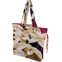 Christmas Poinsettia Decoration Drawstring Tote Bag