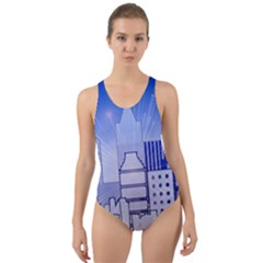City Architecture Building Skyline Cut Out Back One Piece Swimsuit by Pakrebo