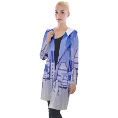 City Architecture Building Skyline Hooded Pocket Cardigan