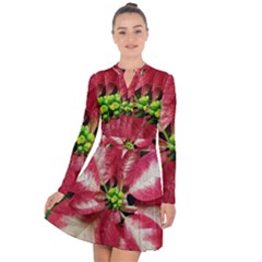 Christmas Poinsettia Deco Jewellery Long Sleeve Panel Dress