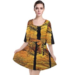 Nature Sunset Landscape Sun Velour Kimono Dress