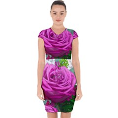 Rose Pink Purple Flower Bouquet Capsleeve Drawstring Dress